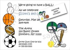 Sports Theme Birthday Party Invitations