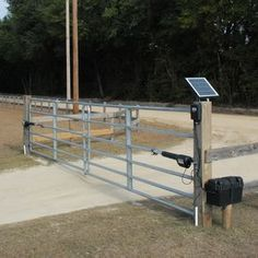 Our line of Mighty Mule driveway gate openers & smart garage door openers offer the perfect way to add security & convenience to your home or business. Solar Electric Fence, Electric Gate Opener, Farm Gate, Farm Fence, Fence Gate, Cattle Gate, Cabana, Diy Gate, Driveway Entrance