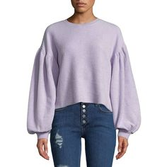 Free People Women's Sleeves Like These Pullover ($78) ❤ liked on Polyvore featuring tops, lilac, crew neck top, long sleeve pullover, sleeve top, pullover top and sweater pullover