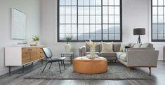 Charme Tan Timpani Leather Ottoman | Article Furniture Direct, High Quality Furniture, Modern Furniture, Plywood Furniture, Furniture Design, Leather Lounge, Leather Ottoman, Leather Sofas, Wooden Trim