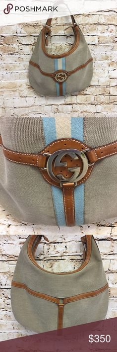"Gucci Reins Hobo Handbag Tan Canvas Blue Stripe 100% Authentic Gucci ""Reins"" Hobo Bag in Tan Canvas Web with Sienna Leather Details, Tri-Color Band and Silver Logo Hardware   Excellent Condition  one small spot on canvas near leather trim see pictures  SKU A0311010149 Gucci Bags Hobos"
