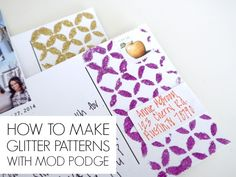 How to make glitter patterns on post cards with Mod Podge - C.R.A.F.T.