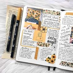 This lovely spread is bringing me happiness on a cold winter morning 🌻🌻 - Shop bujos, brush pens,… Bullet Journal Aesthetic, Bullet Journal Ideas Pages, My Journal, Bullet Journal Inspiration, Journal Pages, Bullet Journals, Scrapbook Journal, Filofax, Bujo