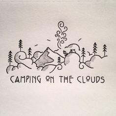 Little doodle of some d00ds camping on the clouds. #drawing #doodle #doodling #penandink #micron #art #graphicdesign #typography #typeface #camping #campfire #campvibes #letsgocamping #tent #mountains #clouds #smoke #trees #pnw #upperleftusa #oregon #crosshatch #linework #doodles #illustree