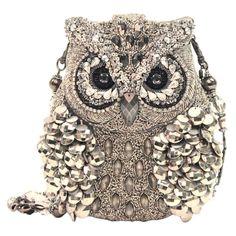 Mary Frances Wisdom owl of silver mercury purse...♥♥♥