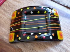 Fused glass candle holder black red yellow and by artwerketc, $30.00