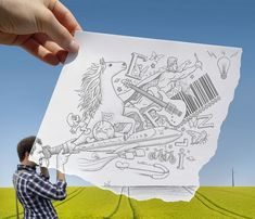 Imagination vs reality, drawing vs photography, pencil vs camera by Ben Heine