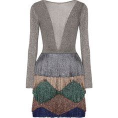 Missoni Fringed metallic knitted mini dress (£1,680) ❤ liked on Polyvore featuring dresses, multi colored dress, colorful dresses, metallic fringe dress, petal dress and plunge dresses