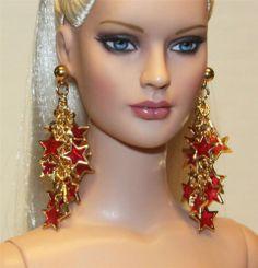 """Ruby Stars"" Earrings for Tonner Tyler Cami Ellowyne DeeAnna Gene Sybarite"