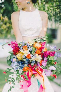 A Bright Rainbow Wedding Theme Full Of Colour bouquet Bouquet Bride, Boho Wedding Bouquet, Floral Wedding, Colourful Wedding Flowers, Tropical Flowers, Trendy Wedding, Bridal Bouquets, Chic Wedding, Bright Flowers