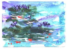 Koi In Watergarden aceo floral painting by Jim by jimsmeltzgallery, $15.00