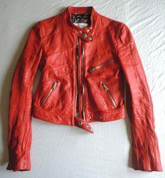 Dolce & Gabbana Red Leather Biker Jacket On www.FullCircleFashion.com
