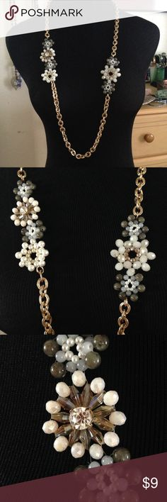 """Flower Necklace Fashion jewelry- heavy gold chain with beaded and gem flowers.  Chain is total 36"""" (18 inch drop) 3 inch extender with claw clasp.  Gently used in excellent condition. Jewelry Necklaces"""