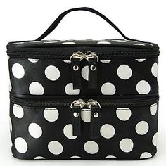 Women's Portable Cosmetic Retro Dot Pattern Beauty Makeup Hand Case Bag – USD $ 4.99