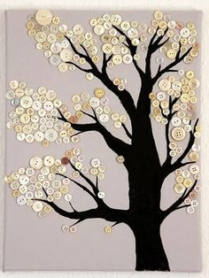 A Button sewing tree . . . this is an idea, there are no instructions. I guess you could get a tree graphic design, transfer to cloth