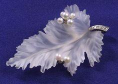 Rock Crystal, Diamond and Pearl Leaf Brooch | Sale Number 2270, Lot Number 287 | Skinner Auctioneers