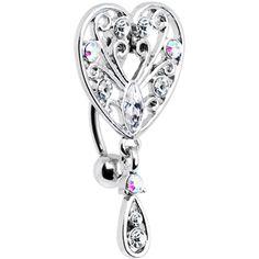 Crystalline Aurora Gem Top Mount Roaring 20s Heart Belly Ring #bellyring #piercing #bodycandy $6.99