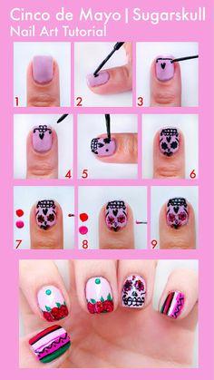 #nails #nailart #skull #rose #pretty #tutorial nail art tutorial for Cinco de Mayo    visit   http://www.prettysquared.com/ for an easy tutorial