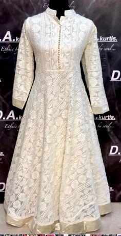 Salwar Designs, Kurti Neck Designs, Kurta Designs Women, Dress Neck Designs, Blouse Designs, Pakistani White Dress, Pakistani Dresses, Designer Party Wear Dresses, Dresses To Wear To A Wedding