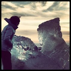 A perfect day in #Iceland: Carla explores the icebergs on the beach at Jokulsarlon