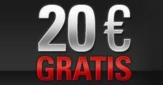 Efectúa un primer depósito de 20 EURO o más y obtendrás 20 EURO para jugar gratis en PokerStars. Esta oferta solamente estará disponible por un tiempo limitado, ¡así que date prisa!  http://www.kalipoker.es/noticias-y-promociones/consigue-20-euros-gratis-en-pokerstars.html
