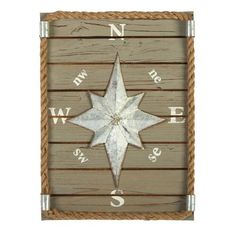 "One of my favorite discoveries at ChristmasTreeShops.com: 12""x16"" Compass Wooden Wall Decor"