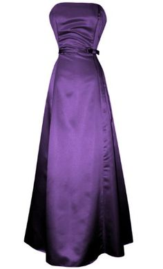 50's Strapless Satin Long Gown Bridesmaid Prom Dress Holiday Formal Junior Plus Size, 4X, Purple $119.99 #PacificPlex