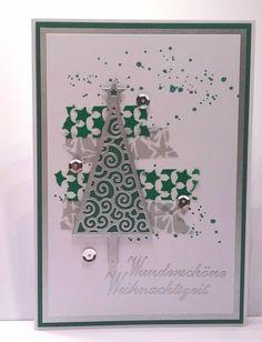 Weihnachtskarte modern und peppig mit Tannenbaum in silber von CreativeArtsbyme auf Etsy