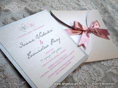 pink silver invitation