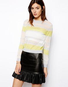 ASOS Premium Crop Sweater In Sheer Stripe