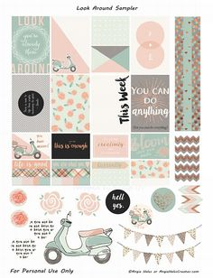 FREE Look Around Sampler Planner Sticker Printables- freebie by AMHales