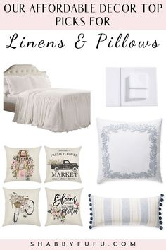 Home Decor Ideas Creative Are you looking for a way to freshen up your home seasonally? Check out our ideas for pretty pillows, bedding and throws that might work for your home. Farmhouse Bedroom Decor, Modern Farmhouse Decor, Rustic Decor, Farmhouse Style, Country Decor, Linen Pillows, Sofa Pillows, Cheap Home Decor, Diy Home Decor