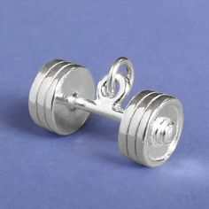 BARBELL Sterling Silver Charm Pendant BAR BELL WEIGHT BODYBUILDING DUMBBELL