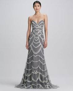 Beaded Strapless Gown by Naeem Khan at Neiman Marcus.
