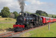 """Ab 608 was built by NZR Addington (Christchurch) in 1915 and named """"Passchendaele"""" in 1925 as a War Memorial for over 400 railwaymen who perished in WW1. It is now owned by NZ Railway & Locomotive Society who restored it for the centenary. This year 608 ran the annual Ekatahuna Express to Masterton and back and is seen returning to the Paekakariki depot."""