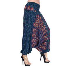 harem pants unisex peacock boho hippie mandala by Theexoticlabel