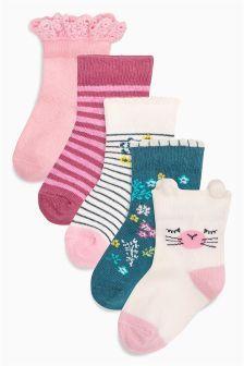 Geblümte Socken im 5er-Pack, pink/weiß/petrol (Jüngere Mädchen)
