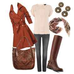 """""""Can't wait for FAll!"""" by yourstyleartist on Polyvore    Statement trench, go to riding boots, awsome leather bag, sweet details blouse, printed scarf, the skinnies you already own. All to wear over and over again,  and mix and match, this Fall."""