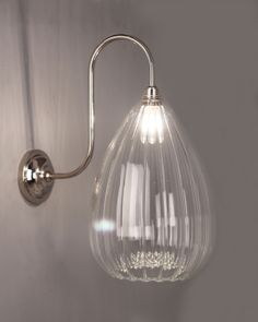 The Wellington ribbed glass bathroom swan neck makes an elegant, larger wall light Made by us, by hand in the UK, this traditional style swan neck wall light looks fabulous with the pretty ribbed glass shade Hallway Wall Lights, Bedside Wall Lights, Glass Wall Lights, Bathroom Wall Lights, Glass Bathroom, 1930s Bathroom, Ensuite Bathrooms, Attic Bathroom, Bathroom Mirrors
