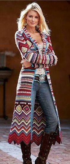 Chaleco largo,crochet.