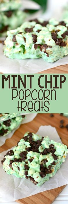 These EASY Mint Chip Popcorn Treats are like a Rice Krispie Treat, but it's made with popcorn! Add some MINT flavoring and chocolate chips and you have a yummy mint chip dessert recipe!