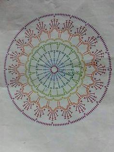 Mandala a crochet Motif Mandala Crochet, Crochet Blocks, Crochet Doily Patterns, Crochet Diagram, Crochet Chart, Crochet Doilies, Crochet Flowers, Crochet Stitches, Crochet Round