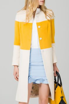 Eavnos White/yellow Wool Blend Color Block Coat | Coats at DEZZAL #fashionismypassion