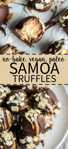 Paleo samoa truffles are an easy to make and guilt free dessert recipe. They're vegan, whole 30 and paleo and come together for a simple sweet treat.