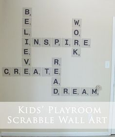 Scrabble Wall - the heck w/ a kids play room, this would be fun in any room, especially an art studio, kitchen, family room?