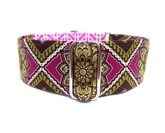 "Plum Medallion Dog Collar - 1"" or 1.5"" Purple and Moss Green Cathedral Medallion and Geometric Design Martingale Collar or Buckle Dog Collar"