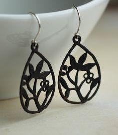 Bonsai /sterling & patina brass earrings