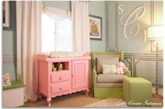 Love green and pink for a baby girl nursery by paulaqwest