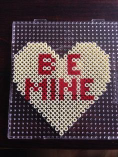 be Mine - Heart hama perler beads by Dorte Marker