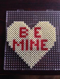 be Mine - Heart hama perler beads by Dorte Marker